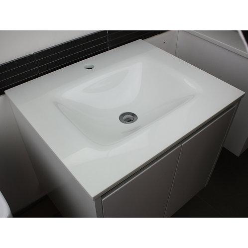 White Glass Vanity Top 600mm