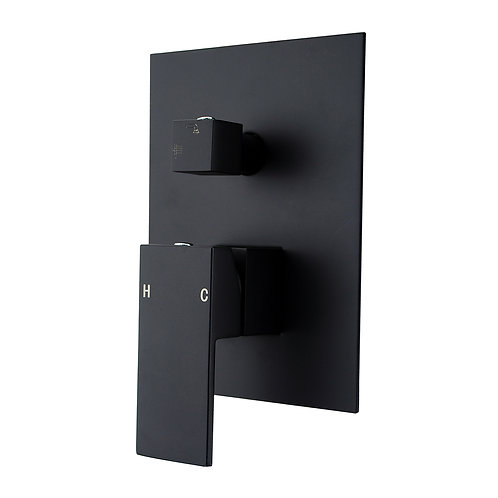 Block Black Square Shower Mixer with Divertor