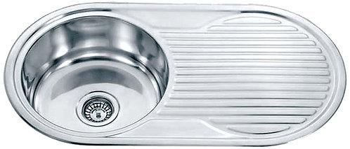 Dante Stainless Steel Single Round Bowl & Drainer Kitchen Sink