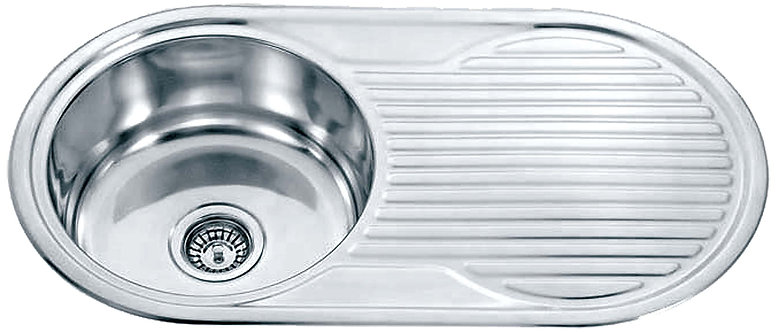Dante Stainless Steel Single Round Bowl & Drainer Kitchen Sink