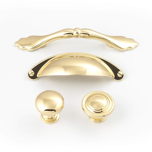 Shaker Polished Gold Cabinet Pull