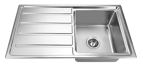 Impact 860x500mm Single Bowl with Drainer Sink Stainless Steel