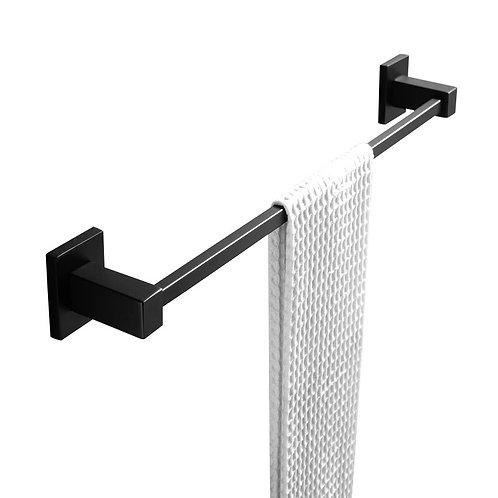 Block Black Single Towel Rail 600mm