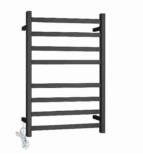 Block Matte Black 8 bar Heated Towel Ladder