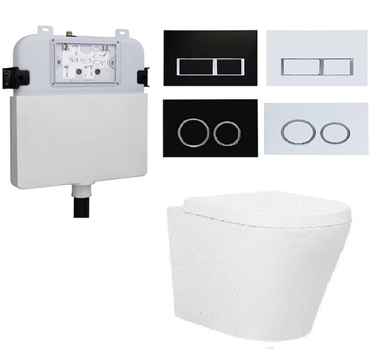 Rondo Wall Faced Toilet Pan with R&T Concealed Cistern