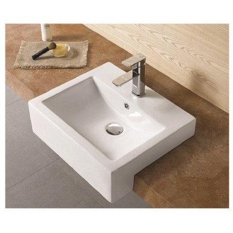 Fabris Square Ceramic Semi Recessed Basin