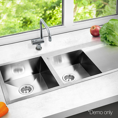 Zero 1135x450mm Double Bowl Sink Stainless Steel