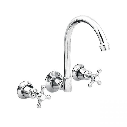Noosa Heritage Chrome Wall Sink Set