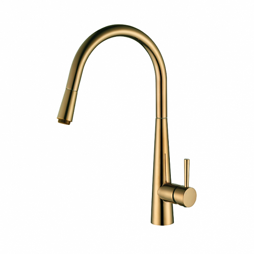 Rondo Brushed Brass Pull Out Kitchen Mixer