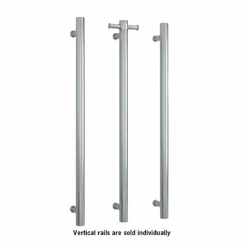 Thermorail Straight Round Vertical Single Bar Heated Towel Rail Brushed SS