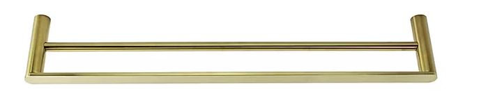 Cirque Brushed Brass Double Towel Rail 600mm