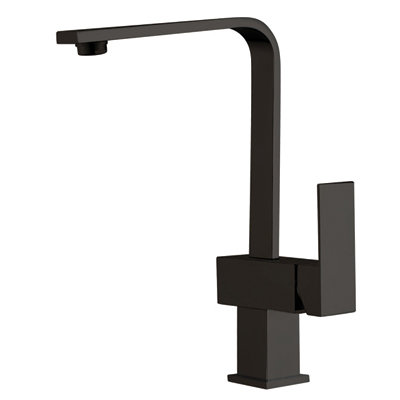 Block Black Square Hi Rise Mixer with Curved Spout