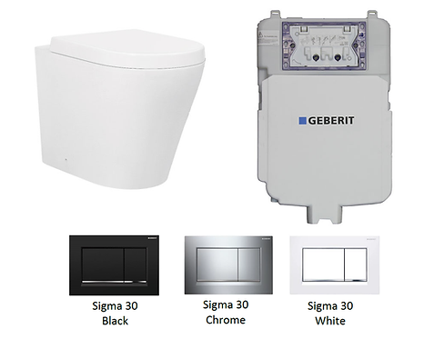 Rondo Wall Faced Toilet Pan with Geberit Sigma 8 Concealed Cistern