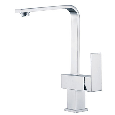 Block Chrome Square Hi Rise Mixer with Curved Spout