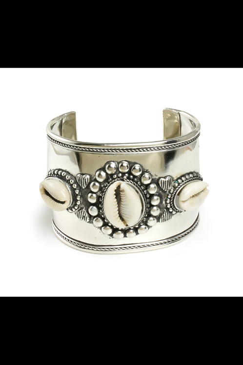 ImPowered Pick- Wide Band Silver Cowrie Shell Bracelet