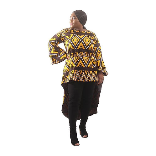 South African Collection ~ African mud print Hi-Lo Top