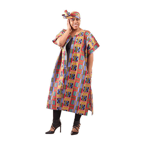 "South African Collection ~Red/Blue Open Kaftan Kente up to 60""B 46""L"
