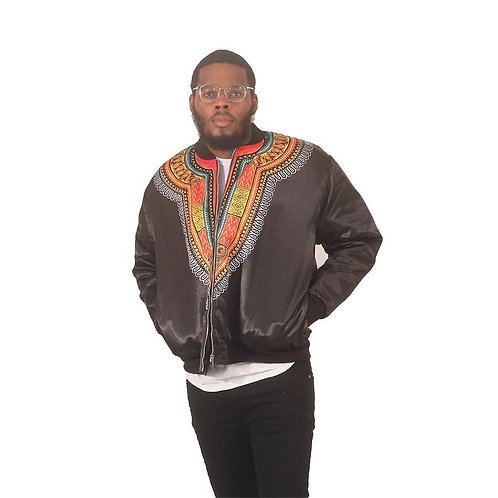 South African Collection ~ Men's Black Trad Print Bomber Jacket