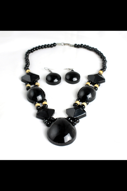South African Collection ~ Obsidian Bone Beaded Necklace Set