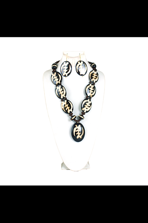 South African Collection ~ Bone Necklace & Earring Set
