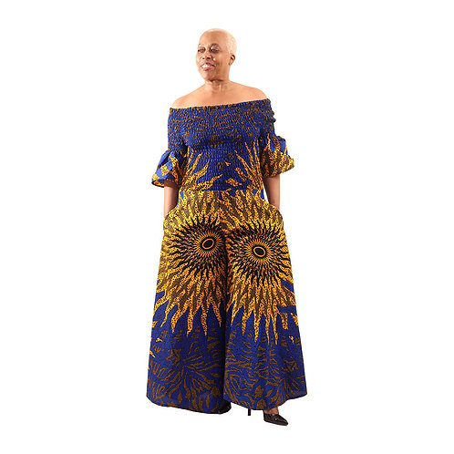 South African Collection ~ Blue/Orange Palazzo 24'-52 bust, 44'waist, 52'L