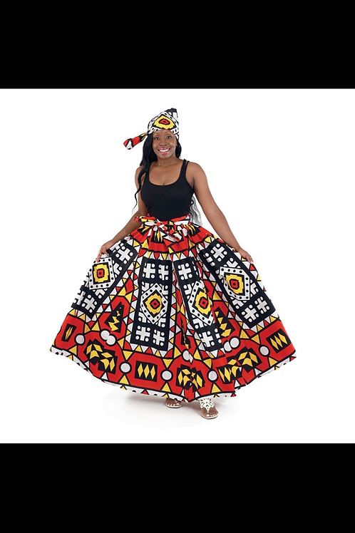 South African Collection ~ Abstract Print Maxi Skirt
