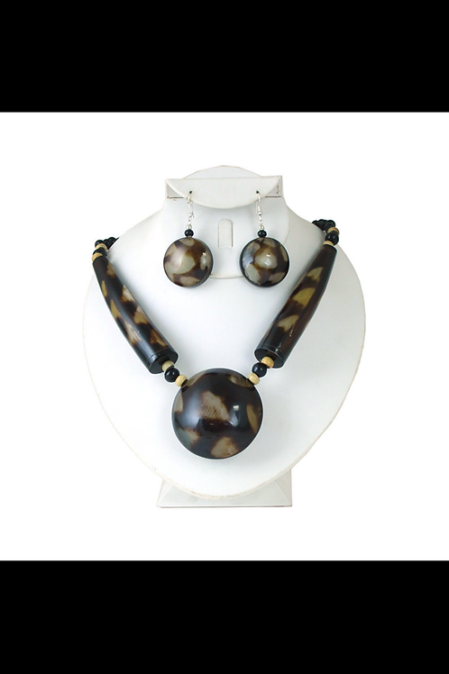 South African Collection ~ Massive Spotted Horn Necklace & Earrings