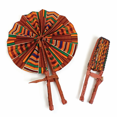 South African Collection~Leather Folding Fans