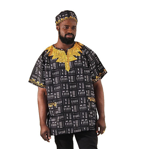 South African Collection~Black Mud Print Embroidered Dashiki 60' chest