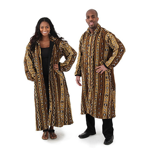South African Collection ~ Full-Length Mud Cloth Coat