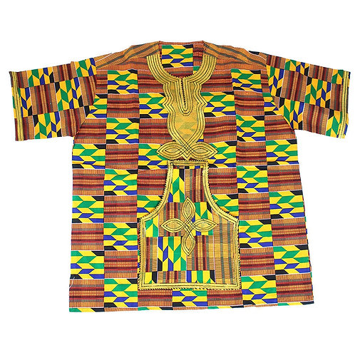 South African Collection ~ Luxurious Embroidered Kente Dashiki