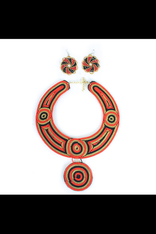 South African Collection ~ Kenyan Red/Black/Gold Queen Necklace Set