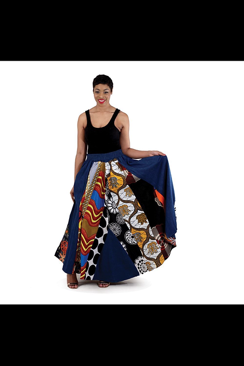 South African Collection ~ Mixed Print Denim Sk