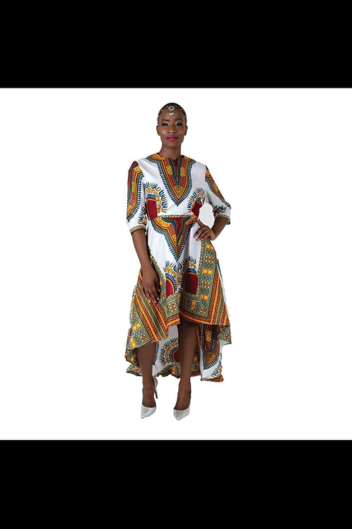 South African Collection ~ Formal Trad Print Hi-Lo Dress