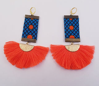 Orange Sunbeam African Print Tassel earr