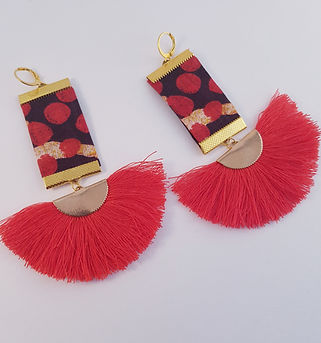 Red Sunbeam AfricaPrint Tassel earrings.