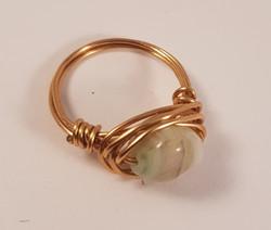 Glass Czech Brass  wrapped ring