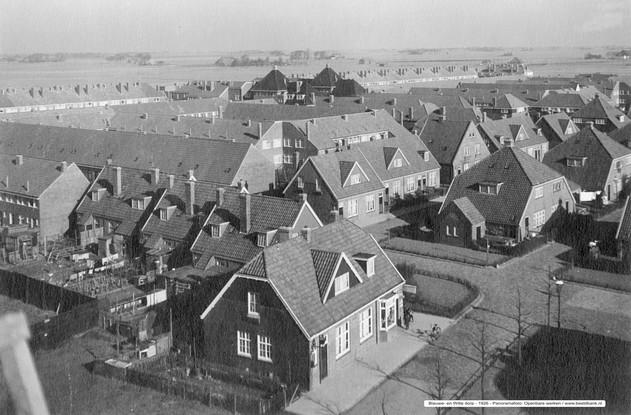 Blauwe en Witte dorp Panorama foto 1926