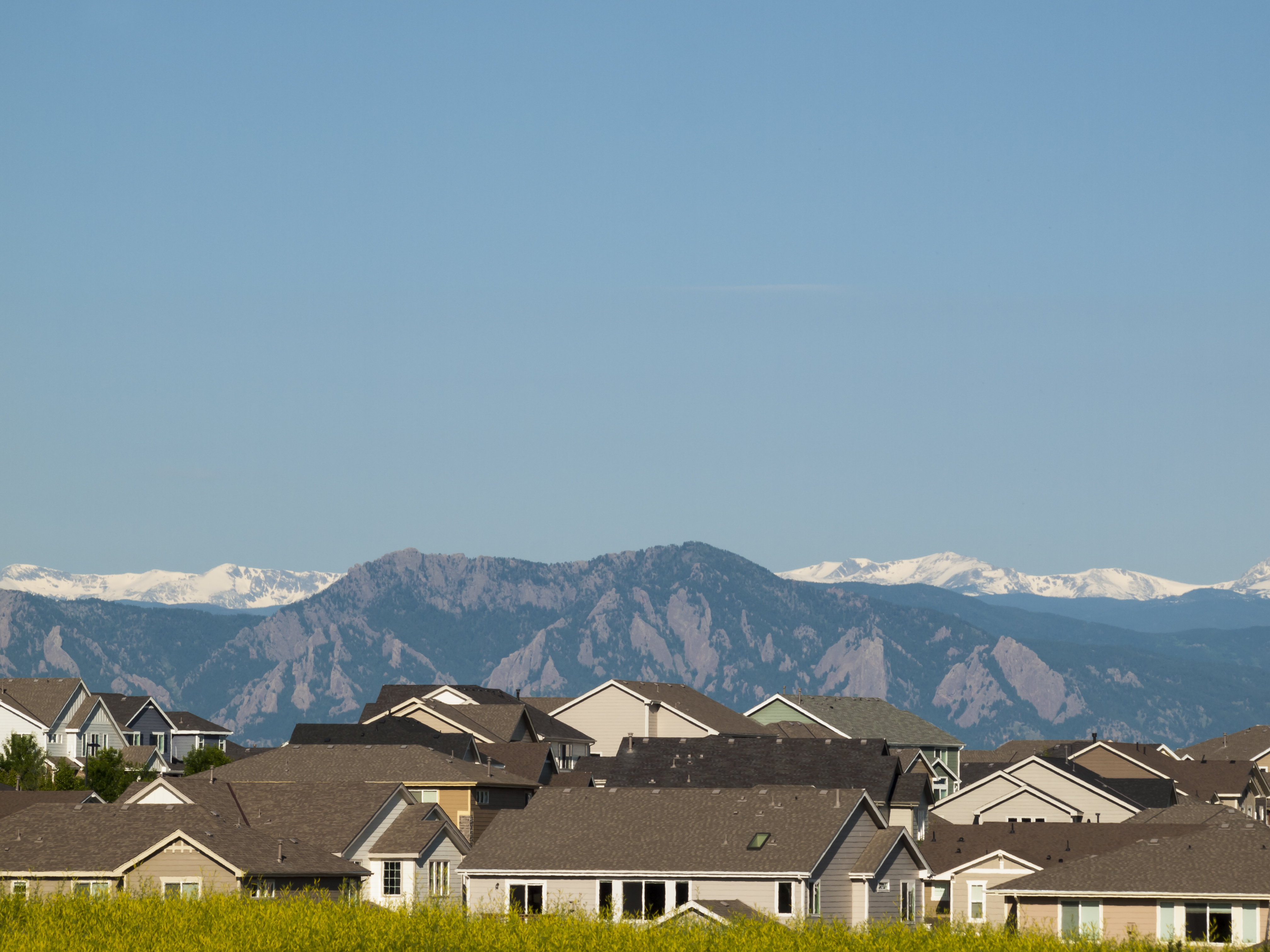 Suburban subdivision in town of Erie, Colorado