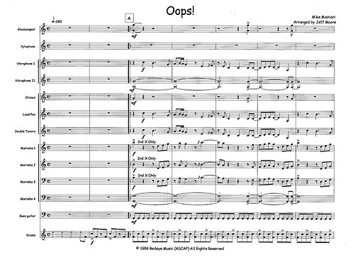 Oops for Percussion Ensemble (comp. Mike Mainieri, arr. Jeff Moore)