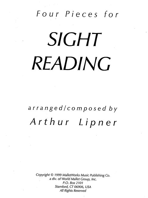 Sight Reading (Four Duo Pieces) digital copy, Lipner