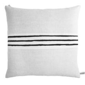 "Erin Flett 20""x20"" 3 Line Black Band Linen Pillow"