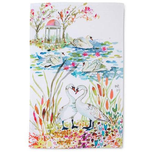 Betsey Olmsted Swans Tea Towel