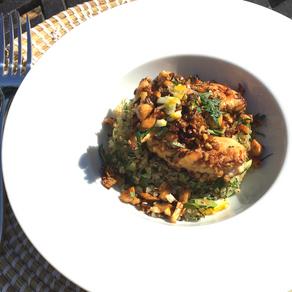Poêlée de poulet mariné et son quinoa