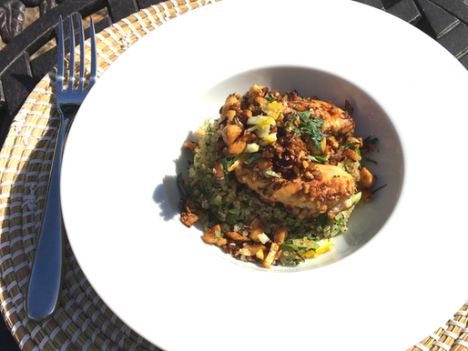 Poêlée de poulet mariné et son quinoa bio et équitable