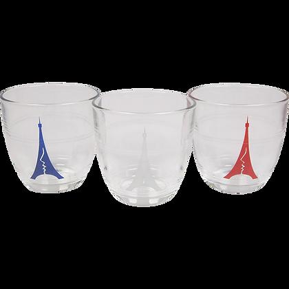 Pack de 3 verres Duralex sérigraphiés bleu blanc rouge