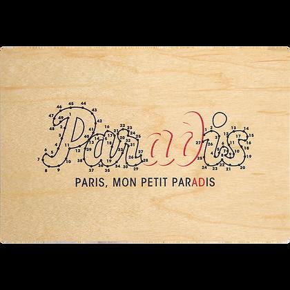 Carte postale en bois sérigraphiée points reliés
