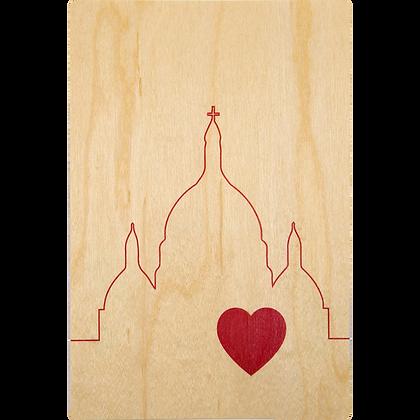 Carte postale en bois sérigraphiée Sacré-Coeur