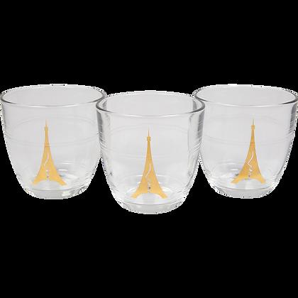 Pack de 3 verres Duralex dorés à l'or fin
