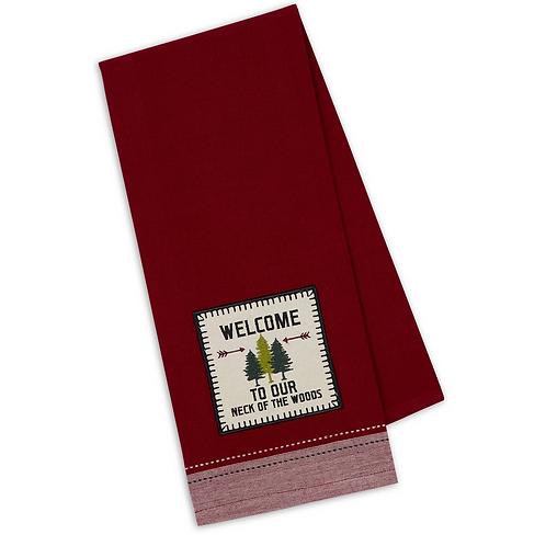 Welcome Woods Embellished Dishtowel